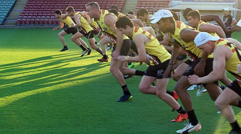 A running drill at training