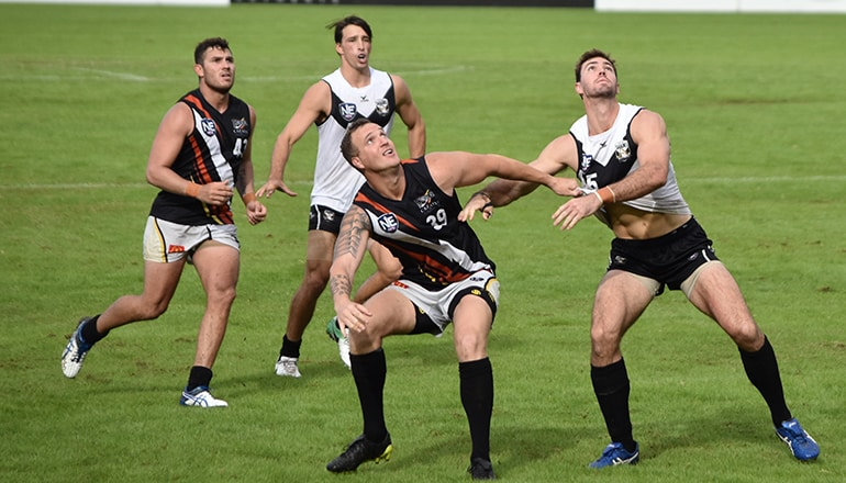 Scott McLeod readies for a ruck contest