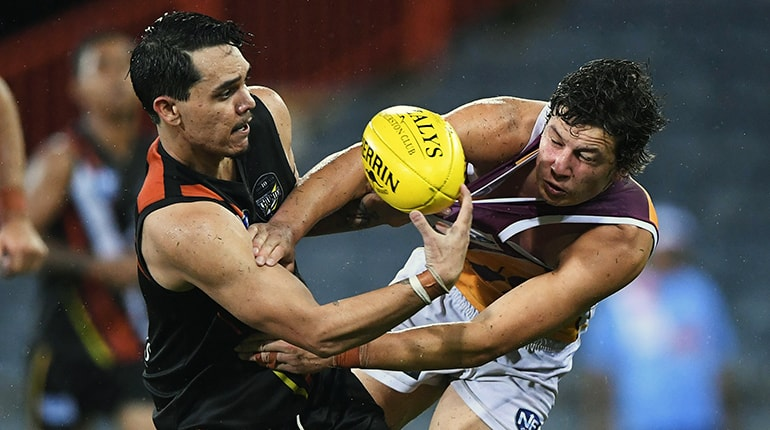 Braedon McLean in Round 1 action against the Lions