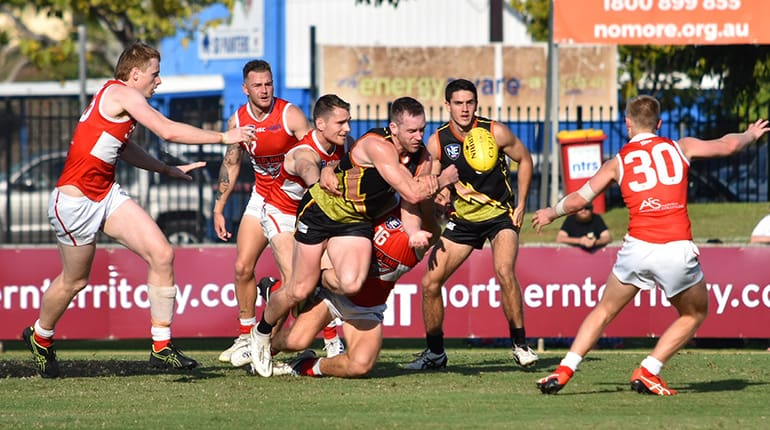 Jacob Templeton tries to attack the ball